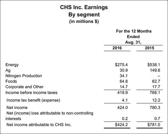 CHS Fiscal Year Earnings Statement